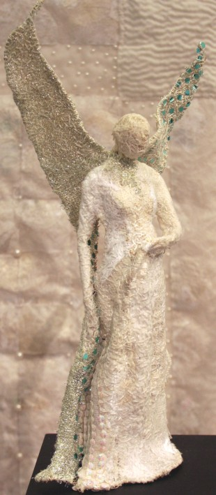 Snow Angel, embroidered sculpture,