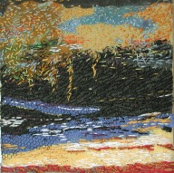 small embroidered landscape 10X10 cm